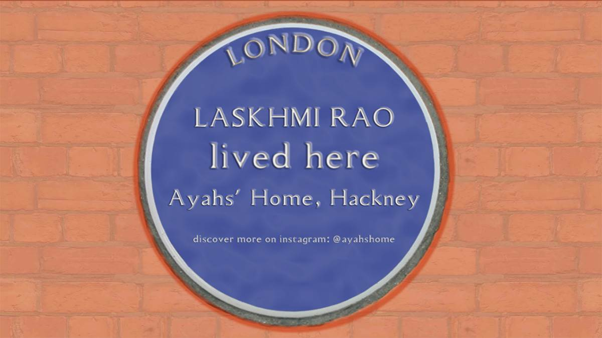 A blue plaque commemorating Laskhmi Rao