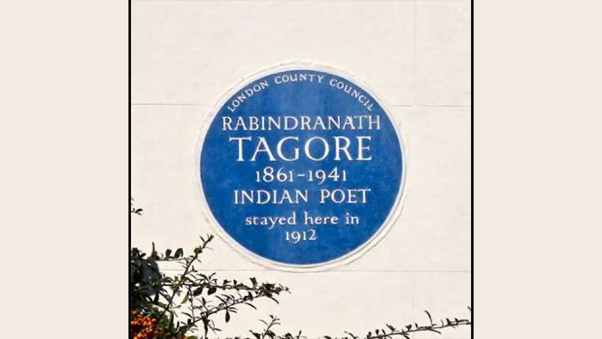 A blue plaque commemorating Rabindranath Tagore