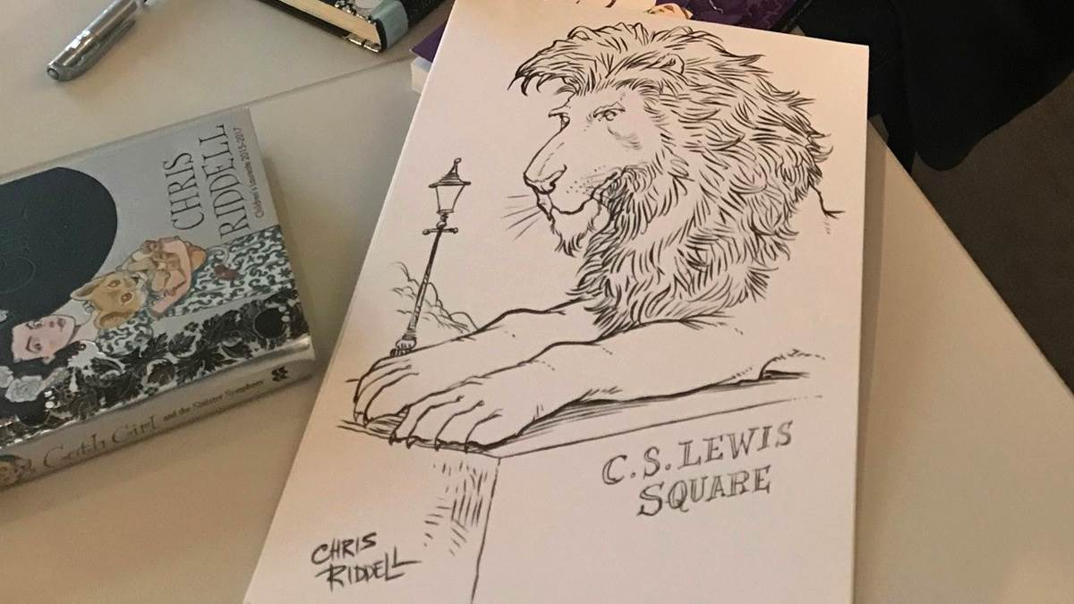 Chris Riddell's Aslan sketch CS Lewis Square