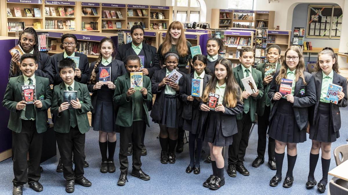 Bookbuzz students with their books