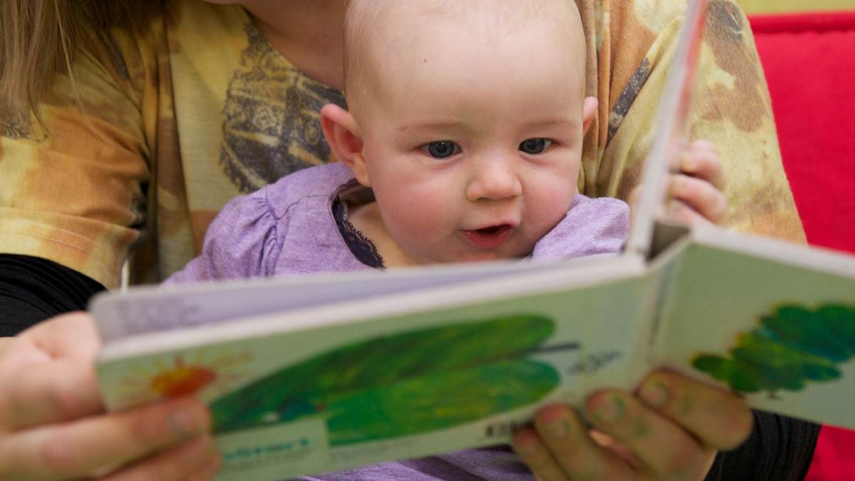 Baby reading Hungry Caterpillar