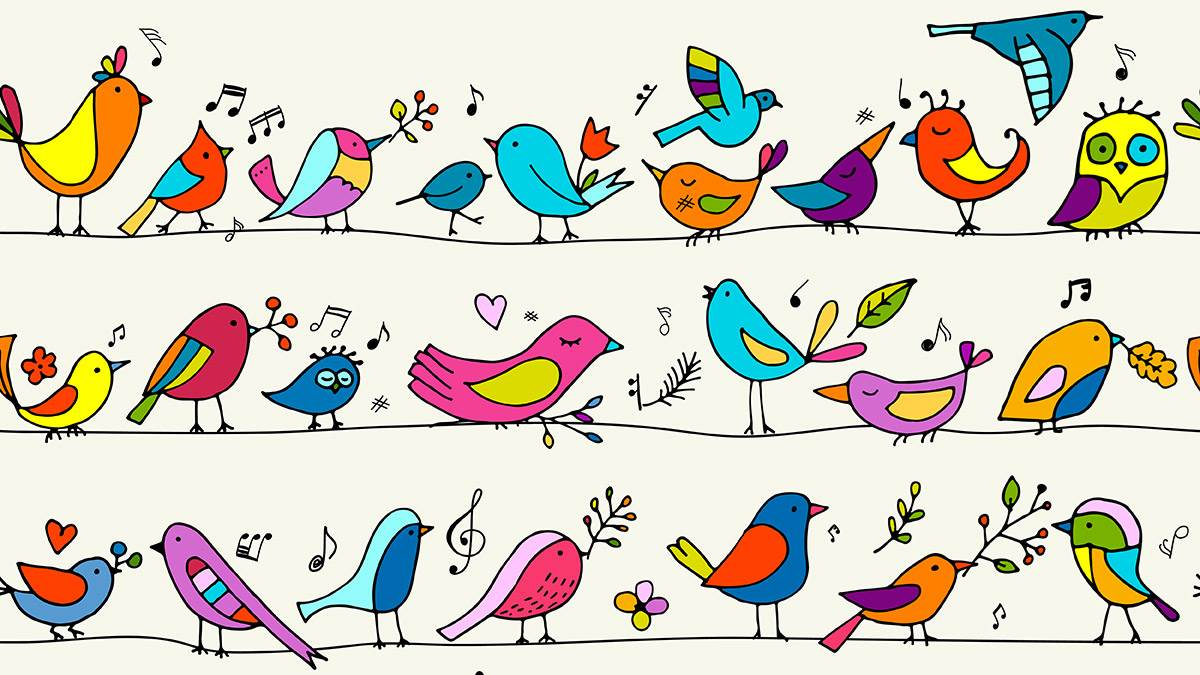 Birds on wires illustration