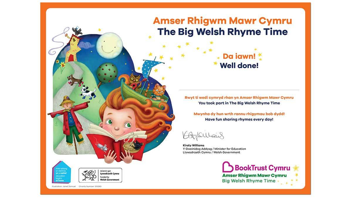 Big Welsh Rhyme Time 2020 certificate