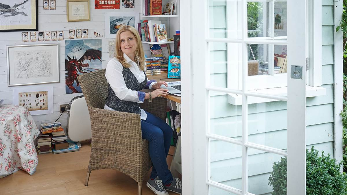 Cressida Cowell in her writing shed